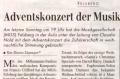 Adventskonzert vom 17. 12. 2006, Aula Felsberg Zeitungsartikel