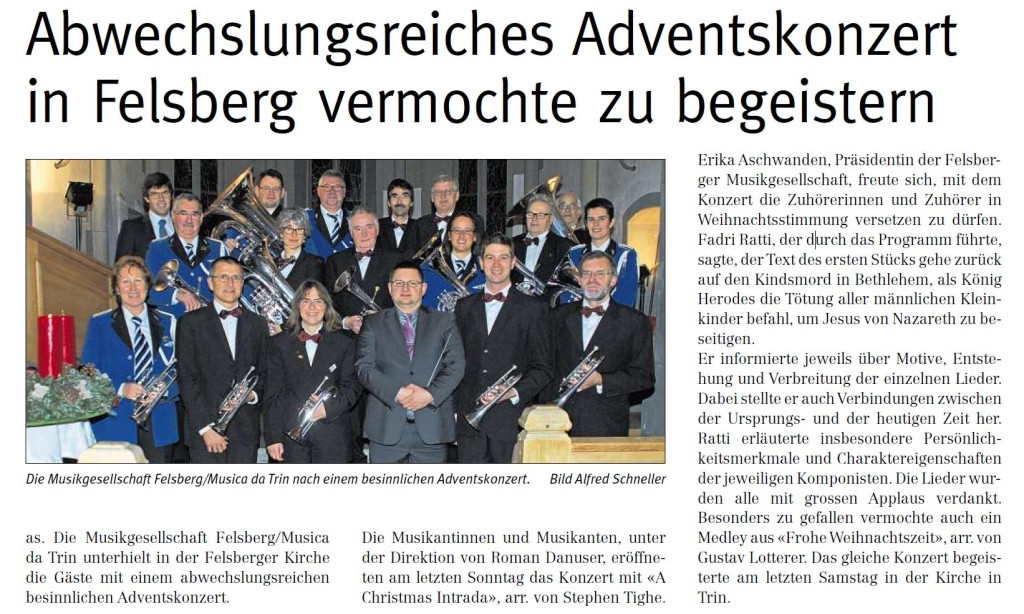 Artikel Adventskonzert Ruinaulta 19.12.2014