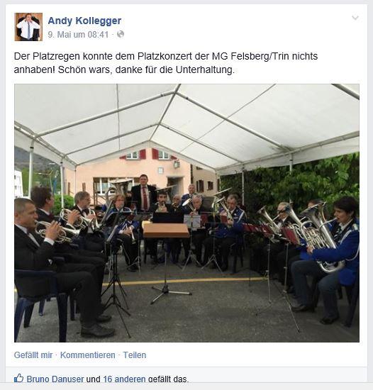 Facebook-Eintrag Kantonalpräsident Andy Kollegger Platzkonzert Felsberg 2015
