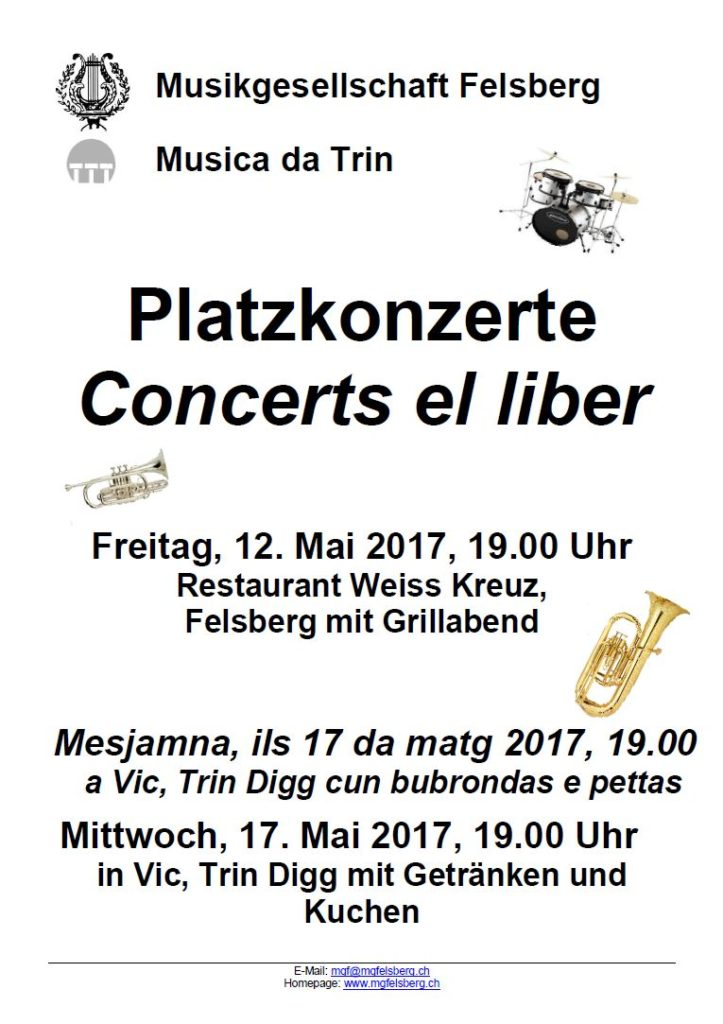 Platzkonzerte Mai 2017